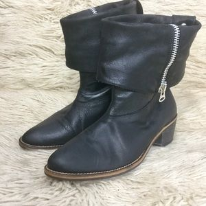 Zara Fold Over Zippered Ankle Booties
